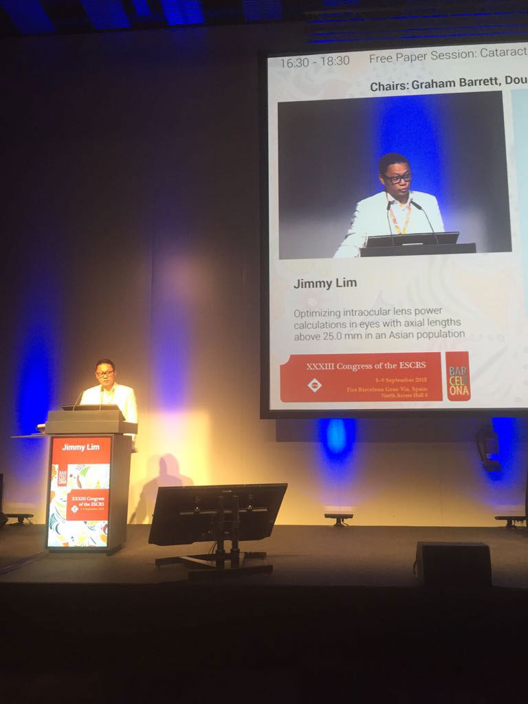 Dr Jimmy Lim Speaker at ESCRS Symposium & Congress, Barcelona