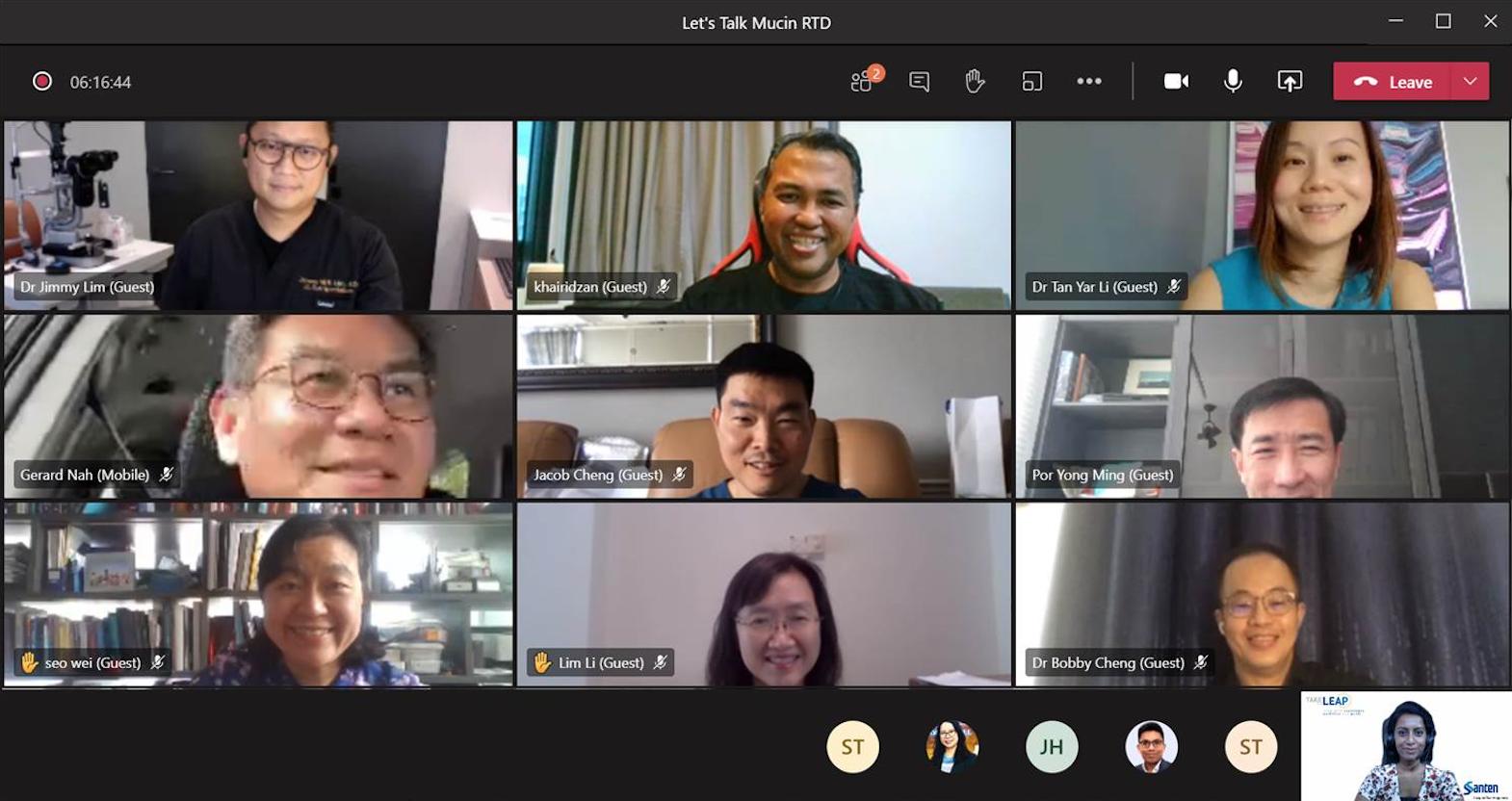 Let's Talk Mucin RTD – Santen, Virtual Meeting Webinar, Singapore